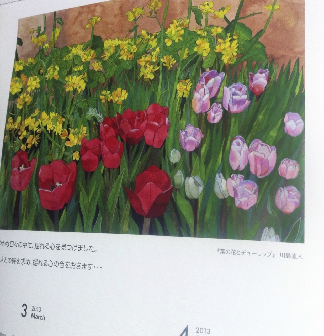 川島直人2013カレンダー 3月・4月