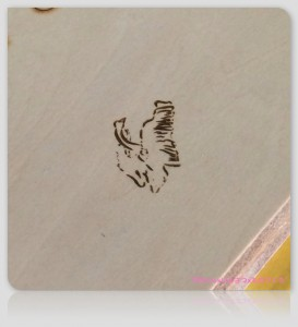 レーザー加工による木材板へのイラスト画像のマーキングテスト